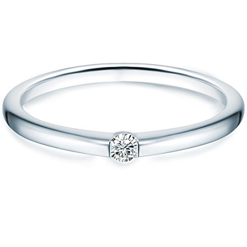 Tresor 1934 Damen-Ring/Verlobungsring/Spannring Sterling Silber rhodiniert Zirkonia weiß 60451020