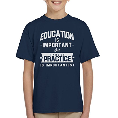 Coto7 Education is Important but Target Practice is Importantest Kid's T-Shirt - Guns Scifi Airsoft