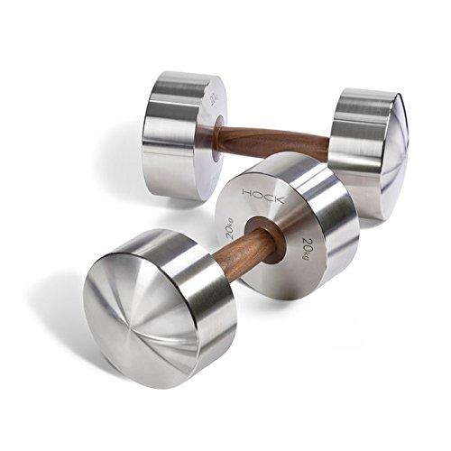 Hock DISKUS Luxus Hanteln Paar 20kg - Hochwertige Edelstahl / Nussbaum Hanteln für Deine Fitness. Hantel Paar Made in Germany.