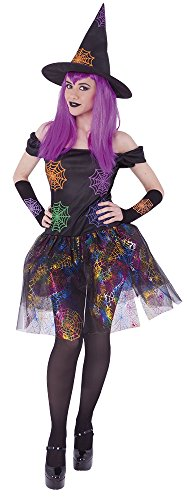Rubie's Rubies-S8358-Kostüm Erwachsene Hexe Spinnennetz-Kleid/Fingerlose/Hut-Einheitsgröße