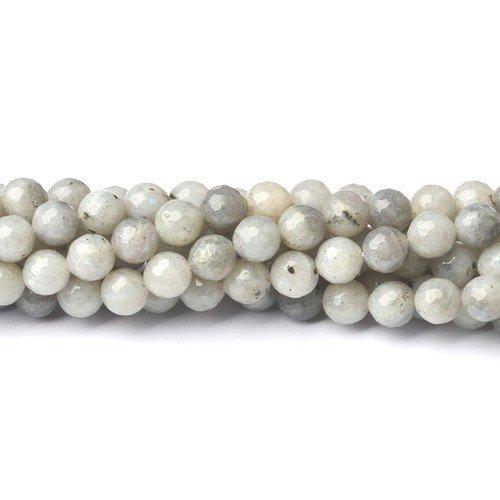 Strang 60+ Blasse Grau Labradorit 6mm Facettiert Rund Perlen - (CB39955-2) - Charming Beads