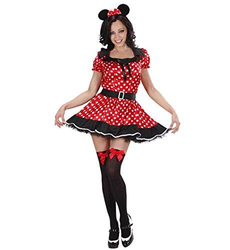 Minnie Kostüm Mouse Verkleiden - Widmann 77442 - Damen Kostüm Mouse Girl, Kleid und Ohren, Größe M