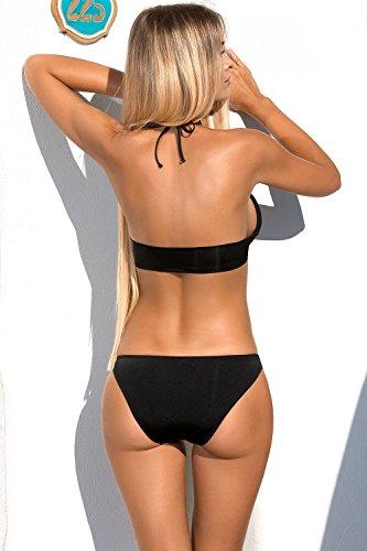 Lorin L1031/7 Bikini Set Dame Bademode Soft Cups Musterlos Neckholder EU Schwarz