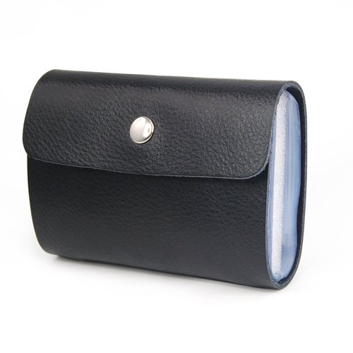 Trixes portafoglio porta carte di credito in similpelle nera morbida con 26 scomparti trasparenti