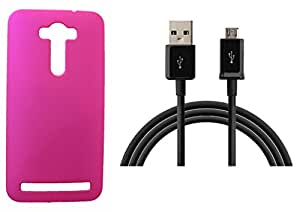 XUWAP Hard Case Cover With Data Cable For Asus Zenfone Selfi - Pink
