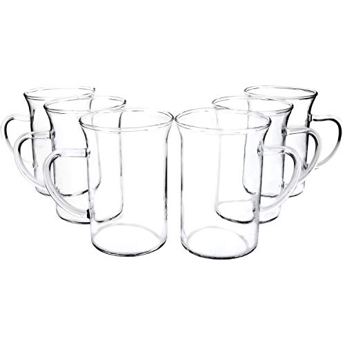 com-four® 6x Teeglas - Trinkgläser mit Henkel für Tee und Kaffee - Ideal für Kakao, Latte Macchiato und Cappuccino (06 Stück - Design1)