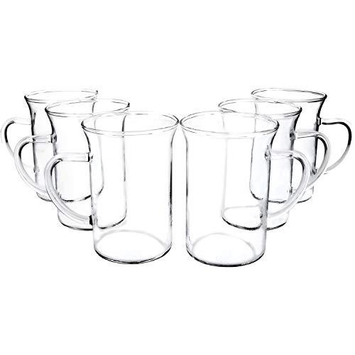feuerzangenbowle glaeser COM-FOUR® 6x Tee- und Kaffeeglas mit Henkel, 240 ml (06 Stück - Design1)