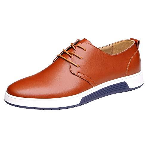 iHENGH Scarpe Uomo Respirante Pu Nero Scarpa da Ginnastica Pigre Running Sport Ragazzo Scarpe Uomo Moda Casual Shoes Men Outdoor Lace-Up Breathable Sneakers Estate(Giallo,43)
