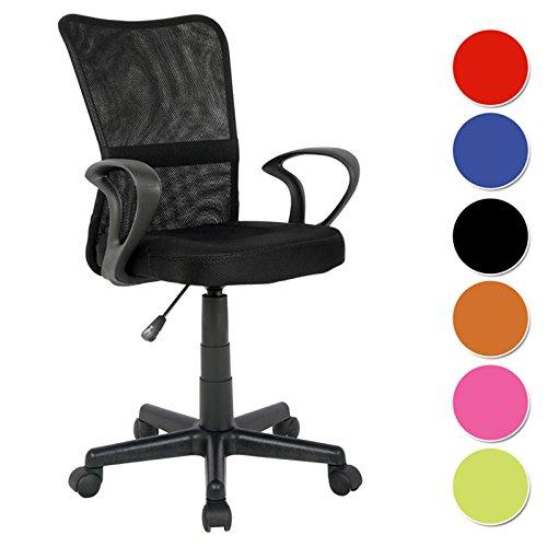 SixBros. Bürostuhl Drehstuhl Schreibtischstuhl Schwarz - H-298F-2/2122