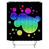 SHENMAHU SHOP Shower Curtain, Fantasy Colorful Round Bubble on Black Background Custom Bathroom Shower Curtain Waterproof Polyester Fabric Bath Curtain 60