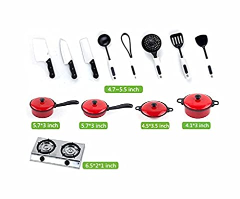 SwirlColor 13x Toddler Kids Plastic Kitchen Appliance Toy Cooking Tools Set