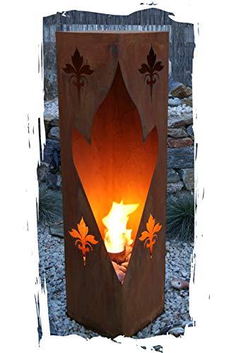 Feuersäule Lilie Edelrost Rost Metall Gartendeko Garten Stele Fackel Feuer Säule -
