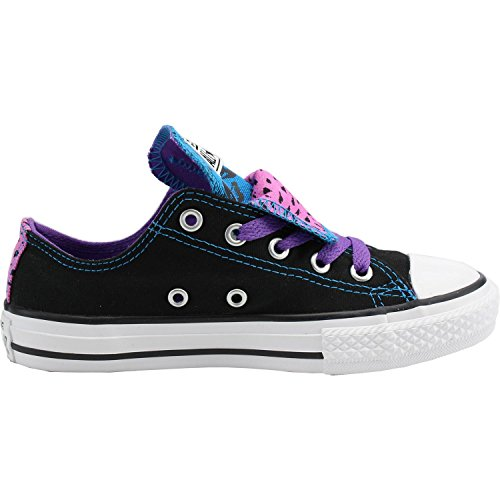 Converse Chuck Taylor All Star Double Tongue Black Textile Youth Trainers Black