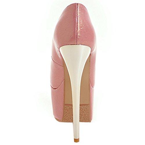 ENMAYER Femmes la Plate - forme Cuir Stiletto Super Talons Sexy et Escarpins Chaussures la Robe de Mariée de Glisser Sur la Cour Rose#38
