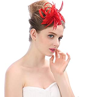 Women Fascinators Headwear Hat Flower Mesh Ribbons Feathers On A Headband And A Forked Clip Cocktail Tea Party Girls Party Wedding,E