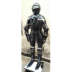 Medieval épico negro caballero medieval traje completo de armadura