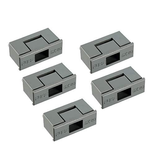sourcing map 10stk. Dual Pol Sicherung PCB Plattenmontage Halter Kasten Grau 6A 5x20mm -