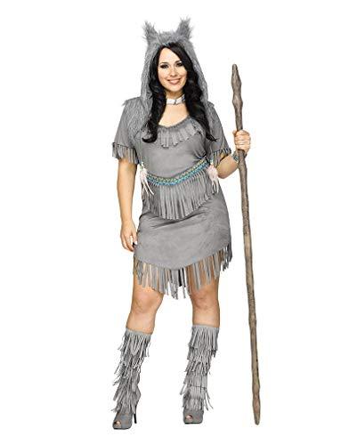 Horror-Shop Sexy Wild West Wolf Jägerin Damenkostüm für Karneval Plus Size XL