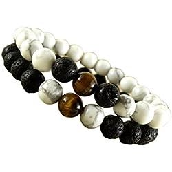 Young & Forever Divine Spiritual Unisex Men, Women Lava Stone Howlite Tiger's Eye Distance Couple Bracelet Yin-Yang Healing Energy Stone Reiki Bracelet Gemstone Bracelet (B55602) diwali Gift special