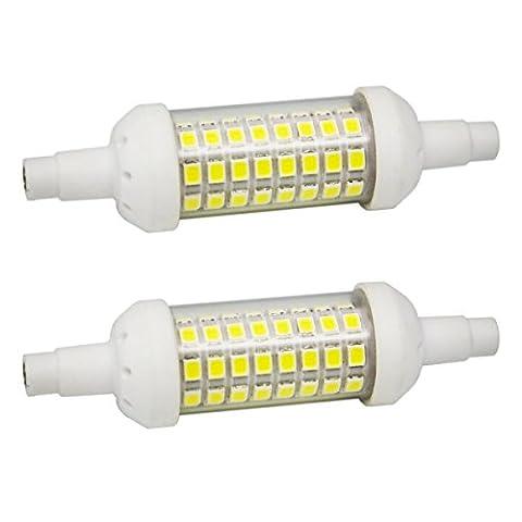 Lot de 2 - R7S 6W 78mm Ampoule LED Lampes en céramique Floodlight Spotlight Lamp - Blanc Froid 6000K - 20*78mm - 480LM - AC220V - R7S Halogène Ampoule remplacement