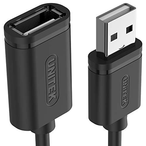 UNITEK Kabel USB 2.0 A Stecker auf USB A Buchse/Verlängerungskabel / 2 Meter, Schwarz/Verlängerung für Drucker, Tastatur, Kartenleser etc. / Y-C450GBK (Usb-stecker-stecker-2 Meter)
