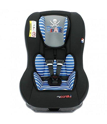Mycarsit - Kinderautositz PILOTE, ECE Gruppe 0/1 (0 bis 18kg), bis 10kg REBOARD nutzbar, Pirate