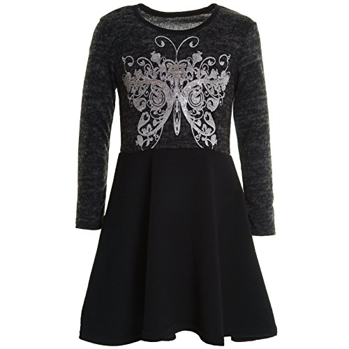 BEZLIT Mädchen Kinder Spitze Winter Kleid Peticoat Fest Kleider Lang Arm Kostüm 20753 Schwarz Größe 104