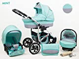 Kinderwagen Largo, 3 in 1- Set Wanne Buggy Babyschale Autositz (Mint)