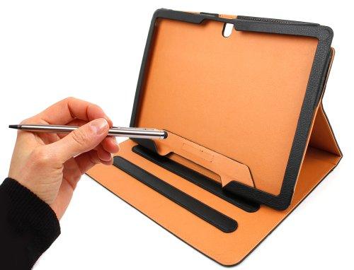 Schwarze Tablet-Hülle für Samsung Galaxy NotePRO 12.2 + Multifunktions-Eingabestift in Silber