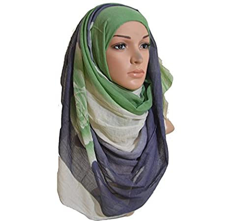 Rose Effect Hijab Cotton Two Tone Floral Scarf Printed Maxi Wrap (Navy Green)