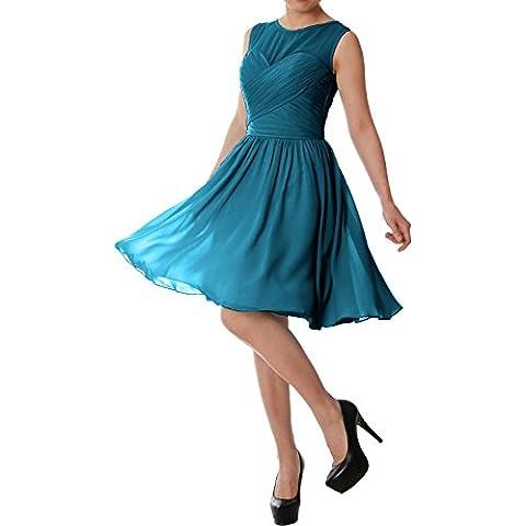 MACloth Women O Neck Short Chiffon Bridesmaid Dress Formal Evening Party Gown (EU44, Teal)