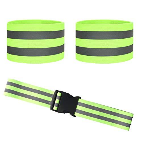 HOGAR AMO Reflektorband Reflektierende Sicherheit Armband & Gürtel für Outdoor Joggen, Radfahren, Wandern, Laufen Reflexband Elastisch Leuchtband Neon-Gelb