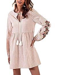 Domorebest Mini Vestido con Cuello en V con Borla y Lazo para Mujer