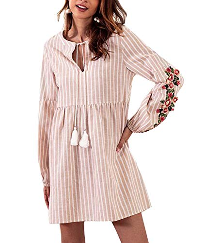 Worclub Frauen V-Ansatz beiläufiges Streifen-Stickerei-Kleid, Denim-Laterne-Ärmel-Lose Drawstring-Kleid, Rosa/M