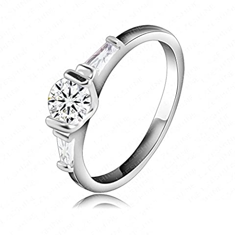 AMDXD Jewelry Silver Plated Engagement Rings for Women Watch Shaped WhiteGold Size R 1/2