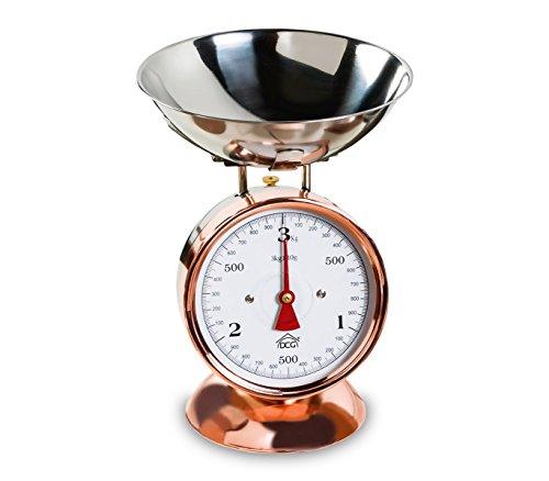 PWC1027 Bilancia da cucina analogica DCG fino a 3 kg in rame vassoio in acciaio. MEDIA WAVE store ®