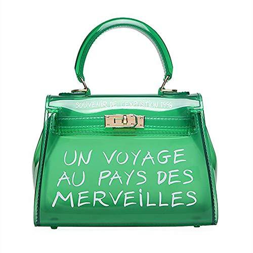 Valleycomfy Damen Handtaschen Neue Candy Farbe Jelly Paket Transparente Tasche Allgleiche Mode Handtasche Schultertasche Umhängetasche Strandtasche (Grün) -
