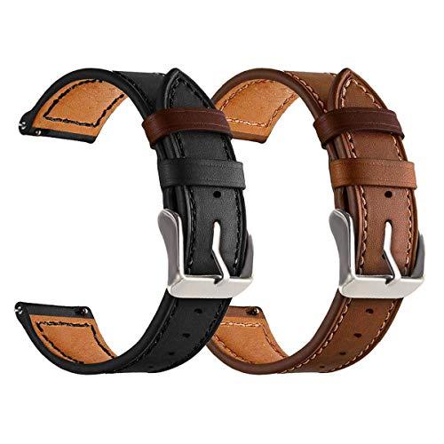 Yayuu Compatible Cuir Bracelet de Montre Samsung Galaxy 46mm/Gear S3 Frontier/Classic, 22mm Bande de Remplacement Cuir Sangle Sport Strap pour Huawei Watch GT/Moto 2nd Gen 46mm Smart Watch