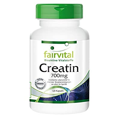 Creatine 700mg - for 24 days - HIGH DOSAGE - 120 capsules - creatine monohydrate - pure substance without additives by fairvital