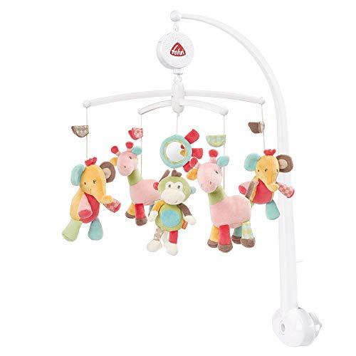 Fehn 074291 Musik-Mobile Safari - Spieluhr-Mobile mit bunten Safari-Tieren zum Lauschen & Staunen - Zum Befestigen am Bett für Babys von 0-5 Monaten - Höhe: 65 cm, ø 40 cm