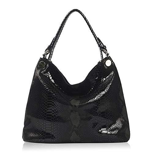 Kieuyhqk Womens Ladies Leather Top Griff Handtaschen Umhängetasche zum Einkaufen Dating Alltag Frauen Casual Handtasche Schulter-Handtasche (Color : Black, Size : Free Size)