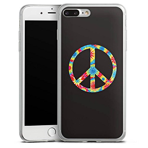 Apple iPhone 8 Plus Slim Case Silikon Hülle Schutzhülle Peace Hippie Bunt Silikon Slim Case transparent
