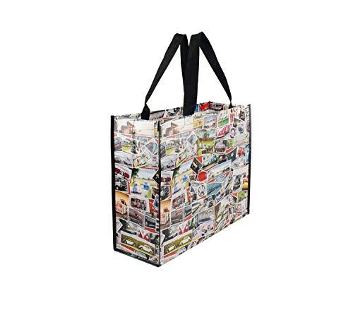 BRISA VW Collection Große Einkaufstasche Shopper Strandtasche mit VW T1 Bulli Bus Motiv - Briefmarken