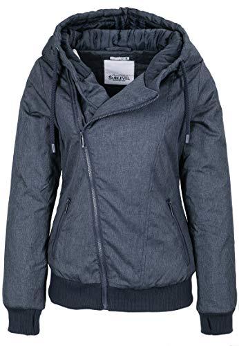 Sublevel Damen Winter Jacke mit Kapuze Übergangsjacke - warm gefüttert S-3XL Blue 3XL