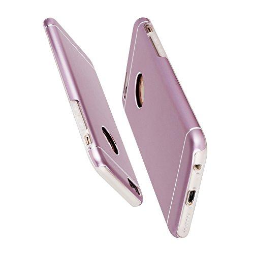 Oats® Apple iPhone 6 / 6s Hülle Schutzhülle Tasche Hard Cover Back Case in Aluminium - von OKCS in Lila Rose Gold