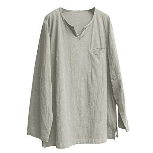 zarupeng✦‿✦ Para hombre Breve transpirable Cómodo Sólido Lino Manga larga Suelta Casual camiseta Blusa