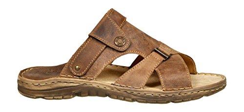 Calzature vera pelle di bufalo scarpe con forma ortopedica comodi sandali da uomo modello 866