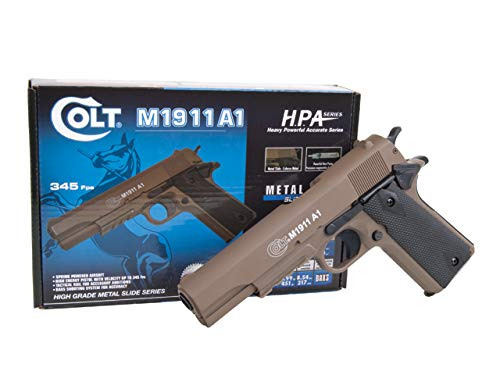 KOSxBO® Set Softair Pistol Colt 1911 A1 H.P.A. mit Metallschlitten, Kal. 6mm BB, Federdruck-System <0.5 Joule inklusive Premium BB Munition inklusive KOS24 Zielscheibe -