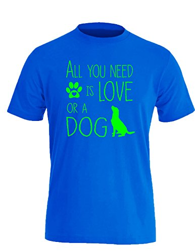 All you need is Love or a Dog - Hund - Hundebesitzer - Herren Rundhals T-Shirt Royal/Neongruen