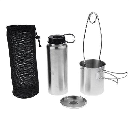 Backbayia Set Hängen Topf Kochgeschirr mit wasserflasche schutzhülle für Camping (Mini-kochgeschirr)